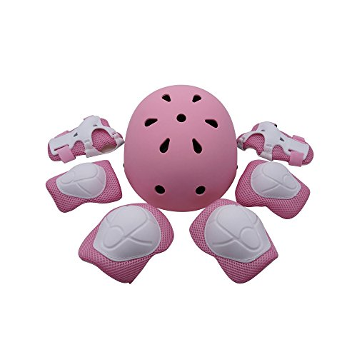 Kiwivalley Kids Boys and Girls Outdoor Sports Protective Gear Safety Pads Set [Helmet Knee Elbow Wrist] for Rollerblades, Scooter, Skateboard, Bicycle, Rollerblades (4-14 Years Old) (Pink)