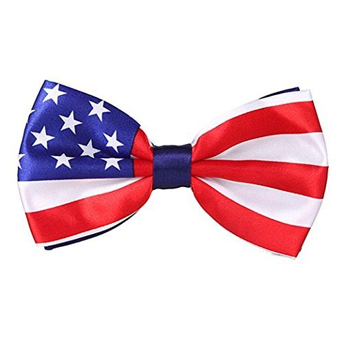 Brand New in Factory Box! and Blue Dress Bow Tie Bowtie Mens Unisex Wedding Party Tuxedo American Flag US Flag Red,White