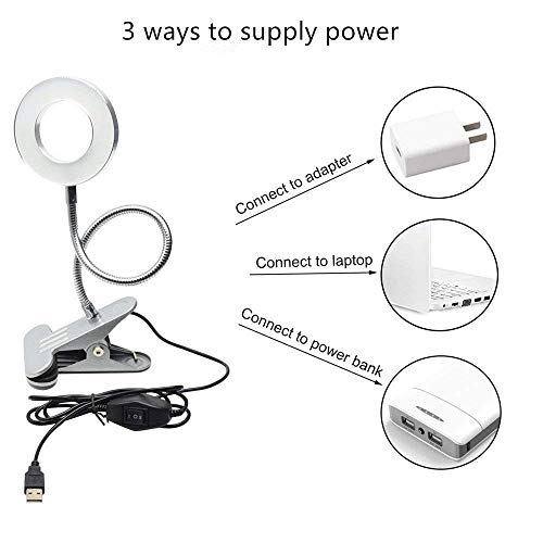 6W LED USB Dimmable Clip on Reading Light,Clip Laptop Lamp for Book,Piano,Bed Headboard,Desk,Eye-care 2 Light Color Switchable, Adapter Included(Black) by W-LITE (Image #4)