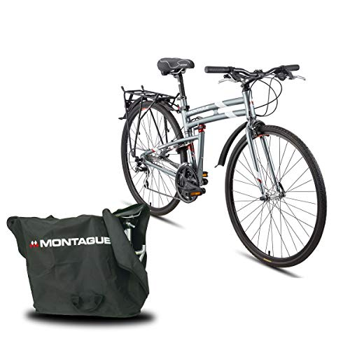Montague Urban 21 Speed Folding Mountain Bike, Folding Bicycles for Adults, Folding Bicycle, Folding Bike, Bike with Carrying Case Bag and Outdoors Equipments Guide Book, Medium-19 Inch