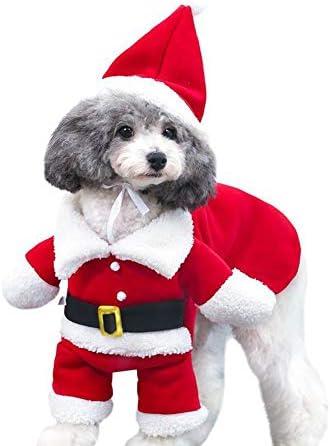 Disfraz de navidad para mascotas con gorro de papá Noel con capucha para Perro y gato 2