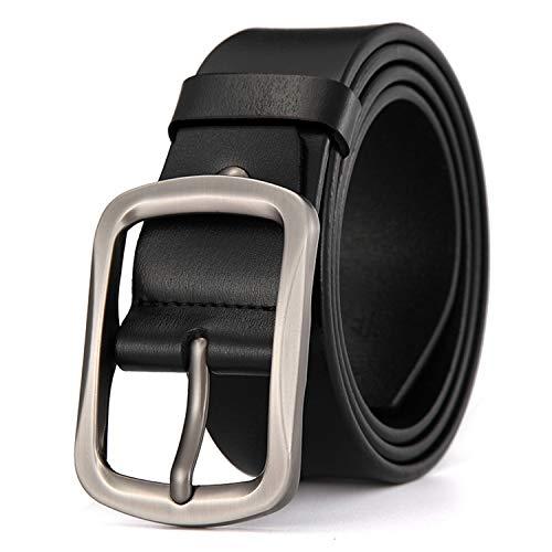 (Cherstee Genuine Leather Belt Men Luxury Strap Male Centre Bar Pin Buckle Belts For Men Buckle Fancy Vintage)