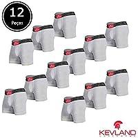 Cuecas Boxer Kevland - Kit Com 12 Peças ALGODÃO CINZA