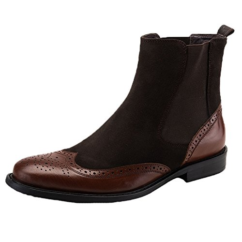 Santimon Mens Chelsea Dress Boots Leather Suede Wingtip Brogue Distinctive Slip on brown 7 (Suede Wingtip Boots)