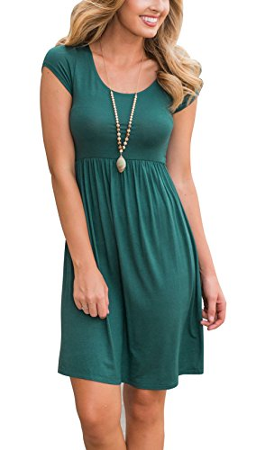 Women's Round Neck Knee-lenght Simple Loose T-Shirt Tunic Casual Dress Teal XL