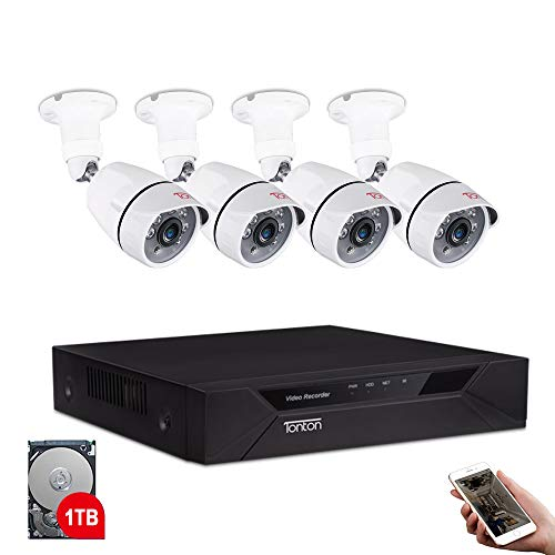 Tonton 8CH Full HD 1080P Security Camera System, Surveillance DVR with 1TB Hard Drive and (4) 2.0MP 1920TVL Outdoor Indoor CCTV Bullet Camera,Easy Remote Access,Free App&Email Notifications