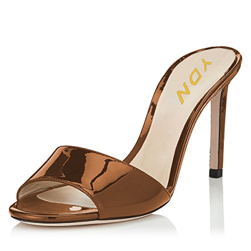 YDN Women Open Toe High Heel Sandals Slip On Mules Sexy Stilettos Pumps Party Slide Shoes Brown-PU 11 (10cm)