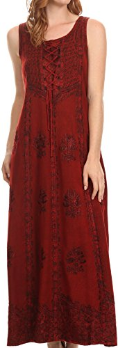 Sakkas 15229 - Stella Long Tank Top Adjustable Caftan Corset Dress with Embroidery - red - L/XL