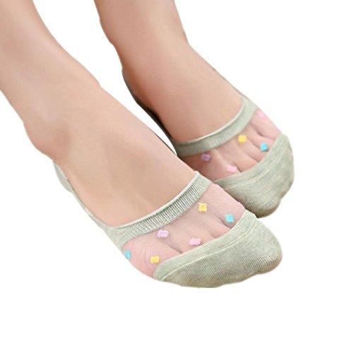 Sagton 1 Paar Dames Snoepkleuren Korte Sokken Onzichtbare Laag Uitgesneden Voeringen Sokken Groen