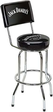 Jack Daniels Swivel Bar Stool with Backrest, Black