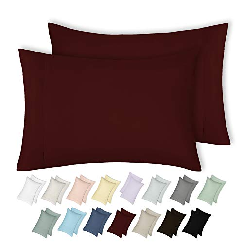 California Design Den 400 Thread Count 100% Cotton Pillowcase Set of 2 - Long-Staple Combed Pure Natural Cotton Pillowcase for Kids & Adults, Soft & Silky Sateen Weave (King, Red Wine)