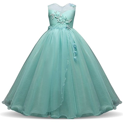 Bridesmaid Dresses for Girls 10-12 A-Line Tutu Summer Sleeveless Ruffles Party Graduation Holiday Big Girl Dresses Size 14-16 ( White) Special Occasion for Wedding Princess Pageant ( Green160 )