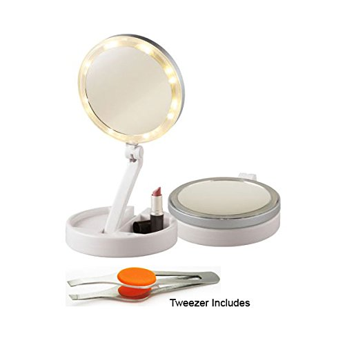 15x Extra Strong SuperVision Folding Travel Mirror with Bright Cosmetic Lighting with Stainless Steel Eyebrow Tweezer 4 Slanted
