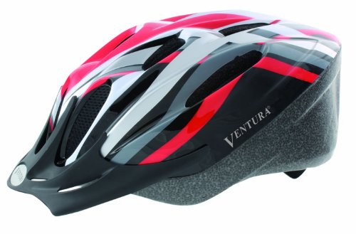 Ventura In-Mold Cycling Helmet, Red/Black/White/Silver, L (58-62 cm) (Adult)