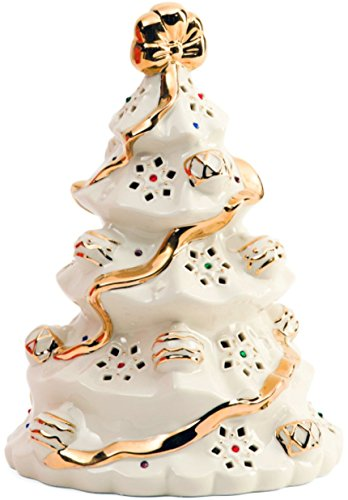 Lenox Porcelain Holiday Gems Lighted Christmas Tree Figurine - Lenox Holiday Gems