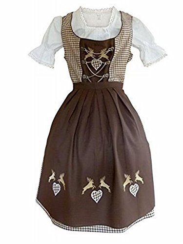 Dirndl World Womens Di18bw, German Bavarian 3 Piece Midi Dirndl Dress for Oktoberfest, Blouse, Apron, Size (German Ladies Traditional Dress)