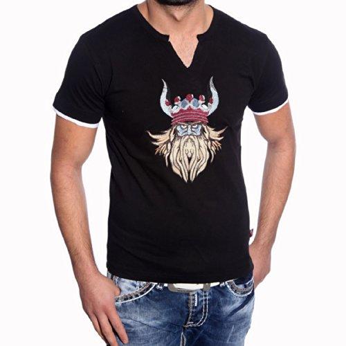Rusty Neal Kurzarm Slim Fit Herren Rundhals Shirt Motiv T-Shirt Schwarz RN-2730