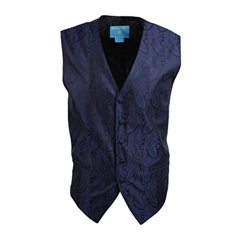 EGC1B03C-2XL Dark Blue Patterned Cheap For Wedding Waistcoat Woven Microfiber Holiday Gifts XX-Large Vest By Epoint