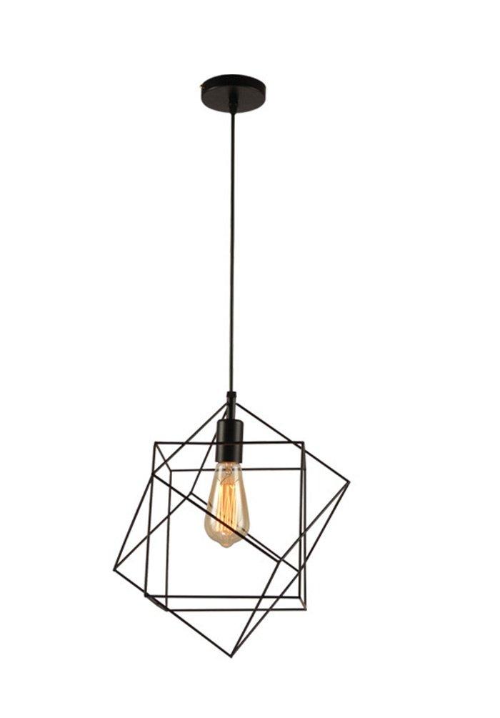 Pendelleuchten Höhenverstellbar Pendelleuchte E27 Retro Industrial Schwarz Pendellampe Kreative Quadrat Geometrie Eisen Hängelampe für Esstisch Wohnzimmer 35×35cm