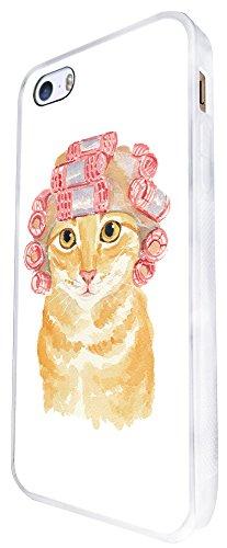 937 - Cool Cute Fun Cat Kitten Feline Pet Love Curlers Funny Illustration Art Ginger Cat Design iphone SE - 2016 Coque Fashion Trend Case Coque Protection Cover plastique et métal - Blanc