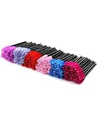 EZGO 300 Pack Multicolor Disposable Eyelash Mascara Brushes Wands Applicator Makeup Brush Kits, 6 Colors