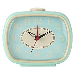 Lily's Home Quiet Non-Ticking Silent Quartz Vintage/Retro Inspired Analog Alarm Clock (Aqua)