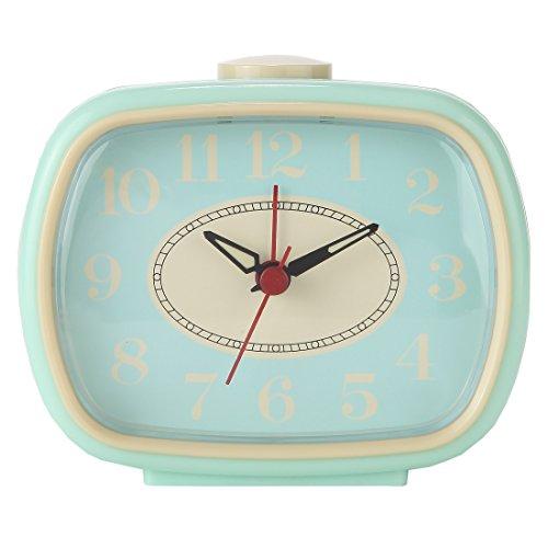 Lily's Home Quiet Non-Ticking Silent Quartz Vintage/Retro Inspired Analog Alarm Clock (Aqua) ()