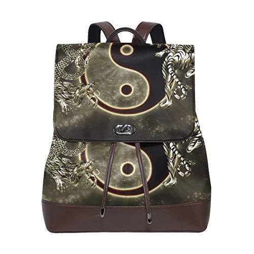 Backpack Shoulder Chinese Dragon Tiger Travel Rucksack School Bag Daypack