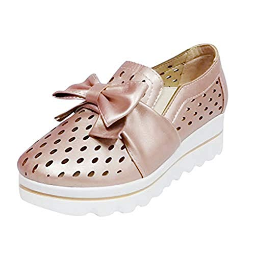 Bravetoshop Leisure Womens Fashion Flat Breathable Wedges Walking Beach Casual Slip on Shoes(Gold,36)]()