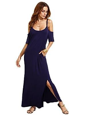 MakeMeChic Women's Cold Shoulder Pocket Short Sleeve Casual Side Split Long Maxi Dress