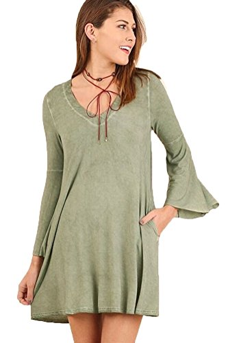 Sage Bell (Umgee Womens BOHO Washed Deep V-Neck Dress with Bell Sleeves (S, Sage))