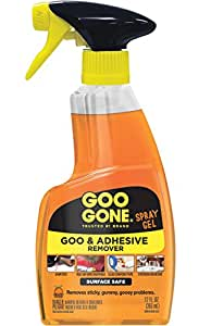 Goo Gone Original Spray Gel - Removes Chewing Gum, Grease, Tar, Stickers, Labels, Tape Residue, Oil, Blood, Lipstick, Mascara, Shoe polish, Crayon, etc. - 12 fl. oz.