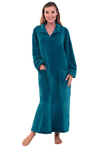 Alexander Del Rossa Women's Zip Up Fleece Robe, Warm Loose Bathrobe, Small Medium Ocean Depth Green (A0300ODPMD)