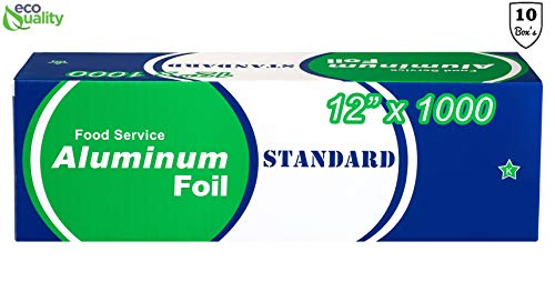 EcoQuality [10 Pack] Food Service Heavy Duty Aluminum Foil Roll (12