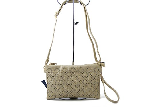 Pochette modello Bustina in ecopelle laminato champagne con mini borchie, tracolla sganciabile, CTL9905