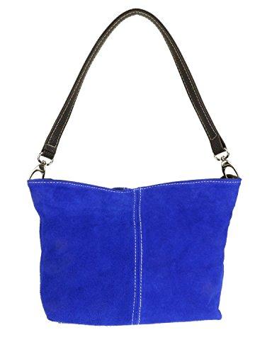 Girly HandBags New Genuine Suede Leather Handbag Shoulder Bag Tote Royal Blue