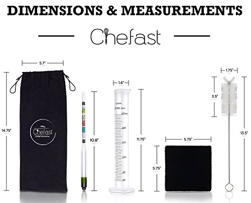 Chefast Hydrometer and Test Jar for Wine, Beer, Mead and Kombucha - Combo Set of Triple-Scale Hydrometer, 250ml Plastic Cylinder, Cleaning Brush, Cloth and Storage Bag - ABV, Brix and Gravity Test Kit by Chefast (Image #6)