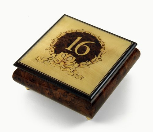 Sweet 16 Centered in Gold Wreath Sorrento Inlaid Music Jewelry Box - Blue Hawaii (L Robins) by MusicBoxAttic