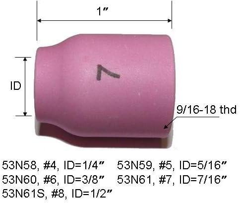 10-pk 53N58-53N61S #4-#8 Welding Alumina Ceramic Gas Lens Cup Tig Torch 9//20//25