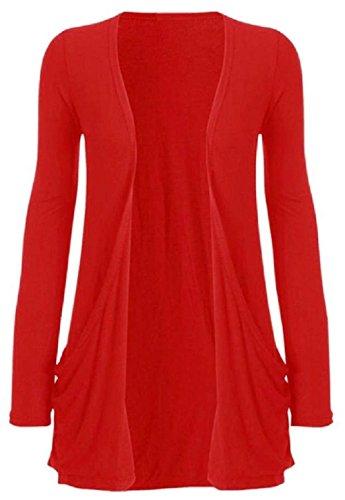 Cardigan tasca Red lunghe Boutique maniche donna a da per Funky qwfxSq