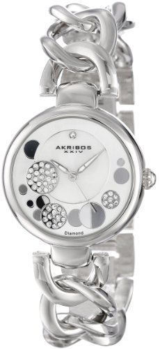 Akribos XXIV Women's AK678SS Lady Diamond Crystal Mother-Of-Pearl Dial Silver-Tone Twist Chain Link Bracelet Watch