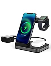 Wireless Charger, Boaraino 3 in 1 Charging Stand Fast Charging Station Compatible with Apple Watch 6/SE/5/4/3, Airpods 2/Pro, iPhone 12/12 Pro/12 Pro Max/12 Mini/11/X/8, Galaxy S21 (18W Adapter Included)
