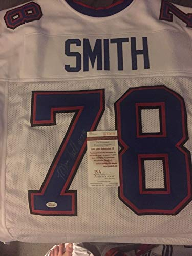 Bills Smith Bruce Signed (Bruce Smith Autographed Signed Custom Bills White Football Jersey JSA Coa Autograph)