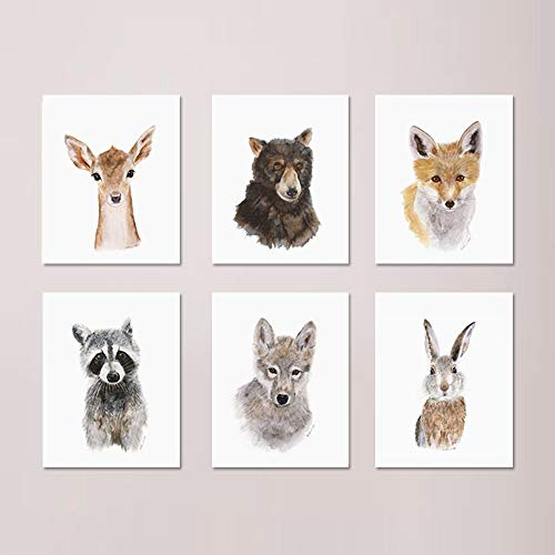 (Woodland Nursery Print Set of 6 Prints, Wildlife Portraits, Forest Baby Animals included: Deer, Wolf, Raccoon, Fox, Bear, Rabbit - Different Sizes Available)
