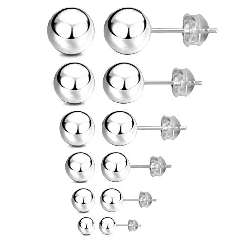 (JADENOVA 925 Sterling Silver Earrings Round Ball Stud Earrings Set for Women Men and Sensitive Skin (6 Pairs, 3mm-8mm))