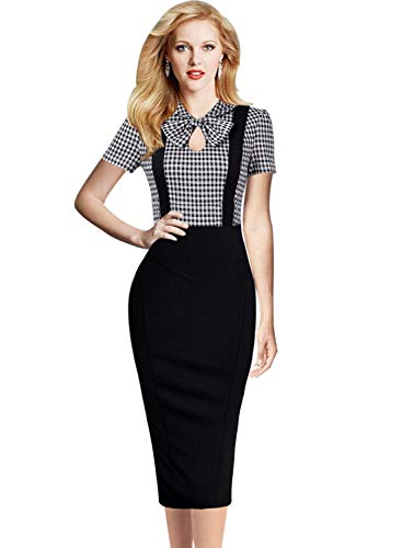 Colorblock Bow - VFSHOW Womens Retro Keyhole Bow Pockets Colorblock Work Business Cocktail Midi Sheath Dress 2633 TAT L