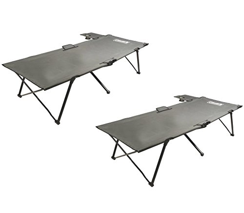 (2) COLEMAN Portable Camping Twin PackAway Cots w/ Removable Table & Cup (Sevylor Mattress)