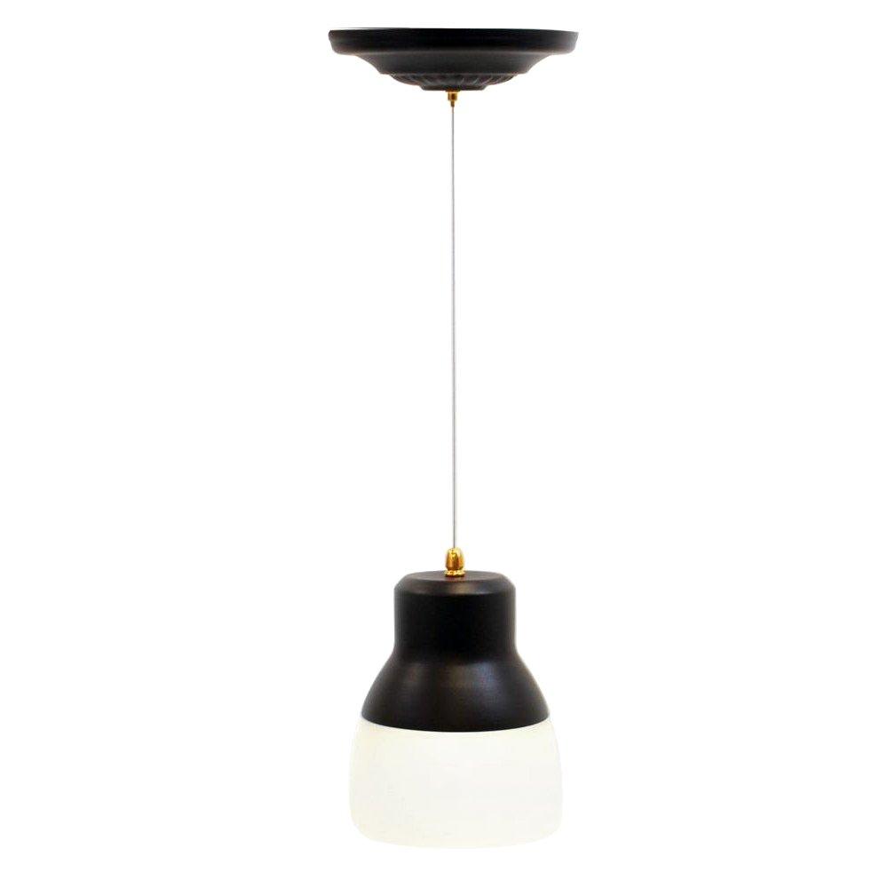 It's Exciting Lighting IEL-5891 Glass Pendant Bronze IR LED Light With Bronze Hardware And Frosted Glass Shade, Battery Operated With 24 Included LEDs