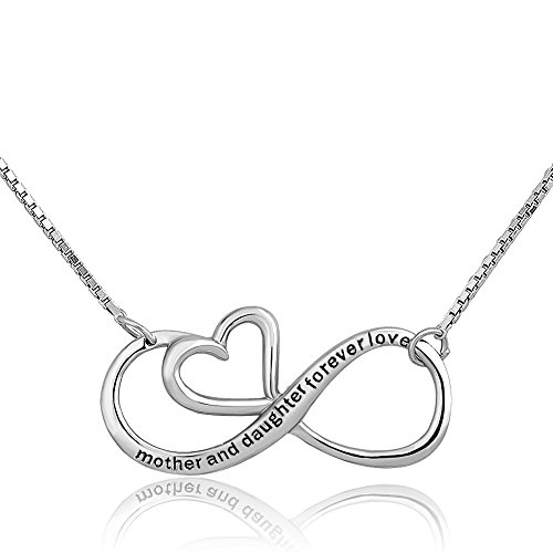 CharmSStory Mothers Day Mother Daughter Forever Love Infinity Sterling Silver Heart Necklace Pendant for Mom (Infinity 01) (Style 01)