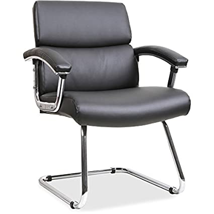 Merveilleux Lorell Sled Base Leather Guest Chair, Black